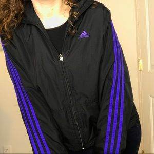 9168923d9f62 adidas Jackets   Coats - Adidas Black And Purple 3 Stripe Track Jacket